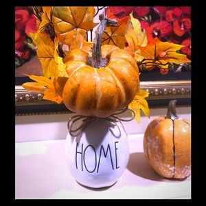 Beautiful Rae Dunn Vase with Pumpkin /Fall Foliage